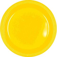 "Yellow Sunshine Plastic Plates, 7"""