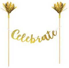 """Celebrate"" Gold Cake Banner"