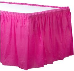 Bright Pink Solid Color Plastic Table Skirt, 14' x 29""