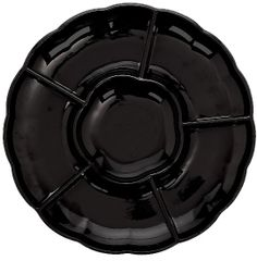 Black Dip & Chip Scalloped Platter, 16""