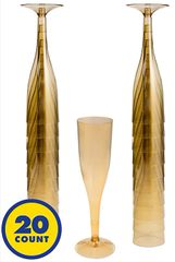 Big Party Pack Gold Plastic Champagne Flutes, 5.5oz - 20ct