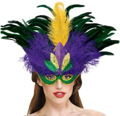 Feather & Sequin Deluxe Masquerade Mask