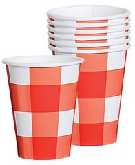 American Summer Red Gingham Cups, 8ct 9oz.