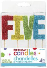 """05 """"F-I-V-E"""" Glitter Multi-Color Birthday Candles"""