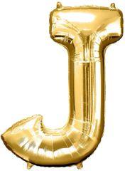 """Gold Letter J - 34"""" Mylar Balloon"""