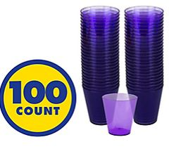 Big Party Pack New Purple Plastic Shot Glasses, 100ct