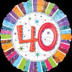 "Radiant 40th Birthday Balloon 18"""