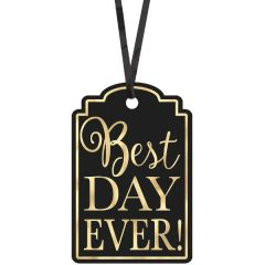 Black Best Day Ever Favor Tags, 25ct