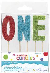 "01 ""O-N-E"" Glitter Multicolor Birthday Candles"