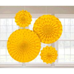 Yellow Sunshine Glitter Paper Fans