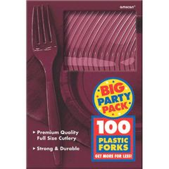 Big Party Pack Berry Plastic Forks, 100ct
