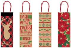 Holiday Tidings Kraft Bottle Bags, 4ct