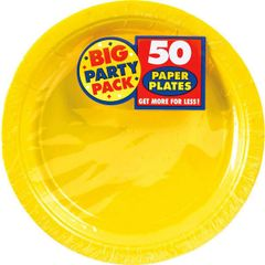 """Yellow Sunshine Big Party Pack Paper Plates, 9"""""""
