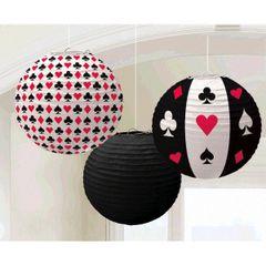 Casino Round Printed Paper Lanterns
