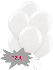 White Solid Color Latex Balloons, 72ct