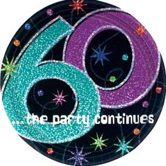 """The Party Continues 60th Birthday Plates, 7"""""""