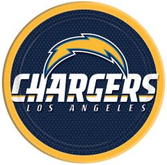 Los Angeles Chargers Round Plates, 8ct
