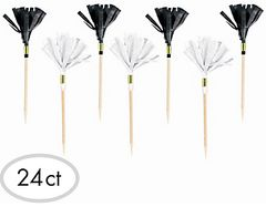 Black & White Fringe Party Picks, 24ct
