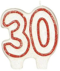 #30 Red Glitter Numeral Candle