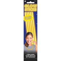 "Yellow, 8"" Glow Sticks, 5ct"