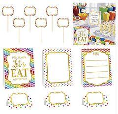 Bright Rainbow (12pcs) Buffet Decorating Kit