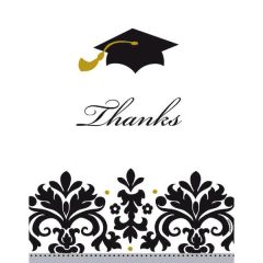 Black & White Grad Postcard Thank You Notes, 50ct