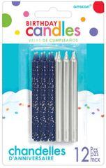 Dark Blue & Silver Birthday Candles, 12ct