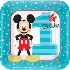 ©Disney Mickey's Fun To Be One Square Plates, 7""