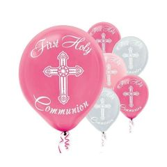 Communion Printed Latex Balloons - Pink