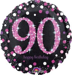 "Pink Sparkling 90th Birthday Celebration Balloon 18"""