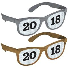 """2018"" New Year's Printed Glasses Multipack - Black, Silver, Gold"