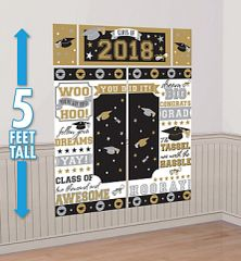 """2018"" Grad Scene Setters® Wall Decorating Kit - Black, Silver, Gold"