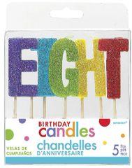 """08 """"E-I-G-H-T"""" Glitter Multi-Color Birthday Candles"""