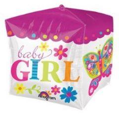 "Cubez Sweet Baby Girl Block Balloon 15"""