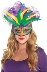 Mardi Gras Deluxe Light-Up Feather Mask