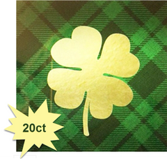 Gold Shamrock Cocktail Napkins, 20ct