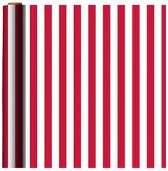 Jumbo Red Printed Strip Gift Wrap w/Hang Tab