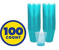 Big Party Pack Caribbean Blue Plastic Shot Glasses, 100ct