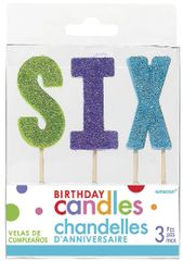 "06 ""S-I-X"" Glitter Multi-Color Birthday Candles"