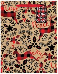 Peace Love Joy Medium Vertical Kraft Bag w/ gift tag