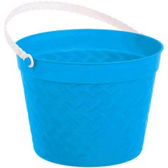 Blue Plastic Woven Easter Bucket