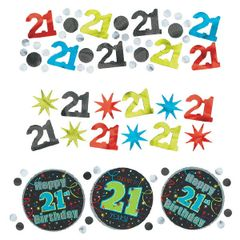 21st Brilliant Birthday Confetti