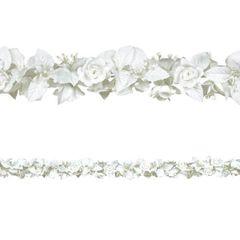 White Rose & Leaf Garland, 6ft