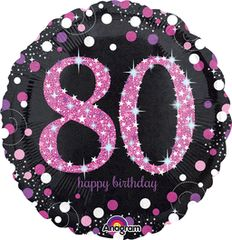 "Pink Sparkling 80th Birthday Celebration Balloon 18"""