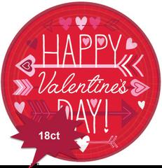 """Valentine Wishes Round Plates, 9"""" 18ct"""