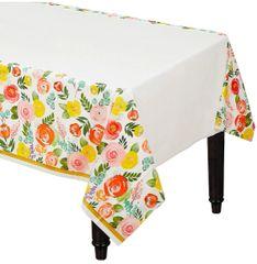 Bright Florals Plastic Table Cover