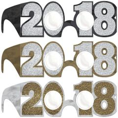 """2018"" New Year's Glitter Glasses Multi Pack - Black, Silver, Gold"