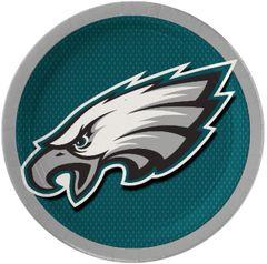 "Philadelphia Eagles 9"" Round Plates, 8ct"