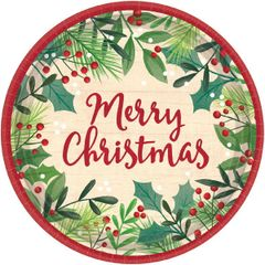 """Merry Holly Day Round Plates, 7"""""""