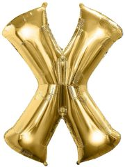 "Gold Letter X - 34"" Mylar Balloon"